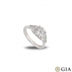 Platinum Round Brilliant Cut Diamond Ring 2.08ct I/I3